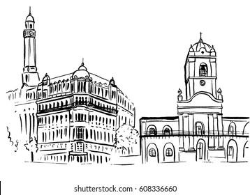 Hand-drawn sketch of Plaza de Mayo, Bueno Aires, Argentina