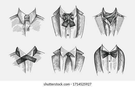 Handgezeichnete Skizze aus Kragen mit Krawatten auf weißem Hintergrund. Kragen ohne Krawatte, Bugbinde und Fibelstift, Kragen mit Krabbe, Kontinentalbinde, einfache traditionelle Krawatte ohne Muster
