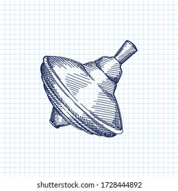Hand-drawn sketch of a spinning top on a white background. Toys for small children. Educational toys for toddlers.