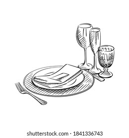 Hand-drawn sketch of table service set for Wedding ceremony. Preparation for wedding ceremony. Plates, champagne glasses, knife, spoon, fork, napkin, wine glass. Holiday. Celebration.