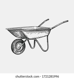 Hand-drawn sketch of Wheelbarrows on a white background. Gardening tools and equipment.