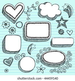 Hand-Drawn Sketchy 3-D Shaped Frames Notebook Doodles on Lined Paper Background- Vector Illustration