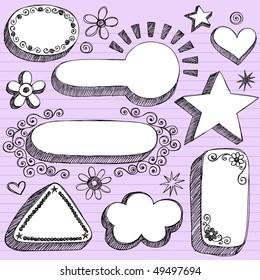 Hand-Drawn Sketchy 3-D Shaped Frames Notebook Doodles on Purple Lined Paper Background- Vector Illustration