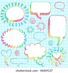 Hand-Drawn Sketchy Comic Speech Bubble Frames Notebook Doodles on Lined Paper Background- Vector Illustration