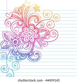 Hand-Drawn Sketchy Flowers and Swirls Notebook Doodles on Lined Paper Background- Vector Illustration