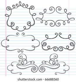 Hand-Drawn Sketchy Notebook Doodles Ornamental Borders with Swirls- Vector Illustration Design Elements on Lined Sketchbook Paper Background