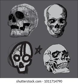 Hand-drawn Skull vector set