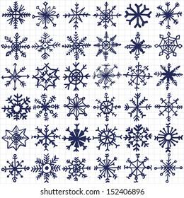 hand-drawn snowflakes set