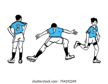 Hand-drawn soccer players wearing blue t-shirts. Vector illustration.