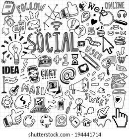 hand-drawn social symbols