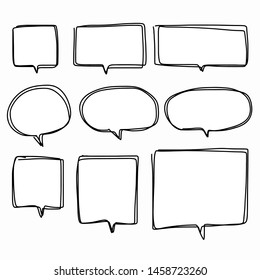 Hand-drawn speech bubble vector set.