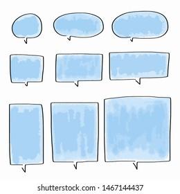 Hand-drawn speech bubble vector set.