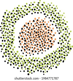 Hand-drawn spot of small orange black dots surrounded by loop of green black specks. Vector handmade assets for creating modern designs. Abstract handwriting from points.  Doodle circles for templates