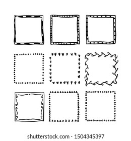 handdrawn square doodle frame collection vector