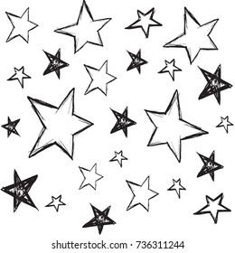 Handdrawn stars background. Vector illustration.