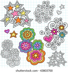 Hand-Drawn Stars and Flowers Psychedelic Notebook Doodles on Lined Paper Background- Vector Illustration