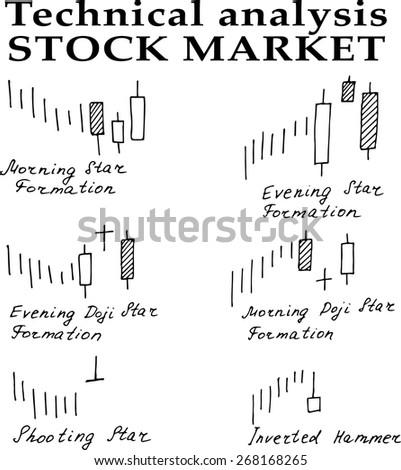 handdrawn stock market technical analysis vector stock vector