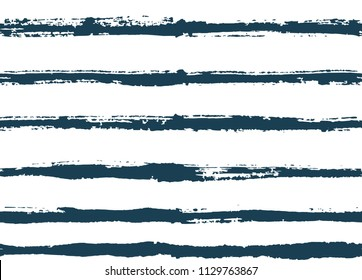 Hand-drawn stripes and lines seamless pattern with white background. Blue grunge texture vector pattern