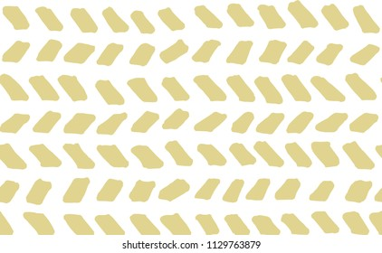Hand-drawn stripes and lines seamless pattern with white background. Yellow herringbone doodle vector pattern.