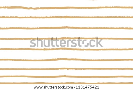 Hand-drawn stripes and lines seamless pattern with white background. Orange  color vector pattern