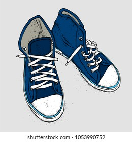 Hand-drawn stylish sneakers. Vector illustration for a postcard or a poster, print for clothes.