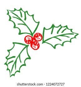 Hand-drawn stylized mistletoe plant outlines, with green leaves and red berries. Vector element for traditional Christmas decorations.