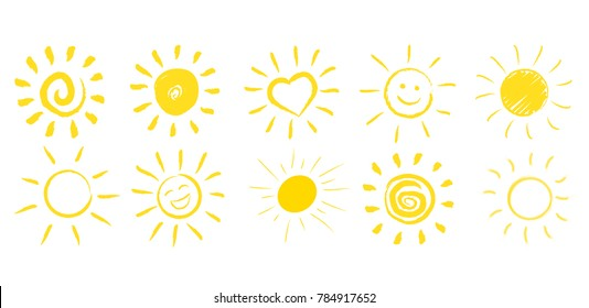 Hand-drawn sun in many vector forms