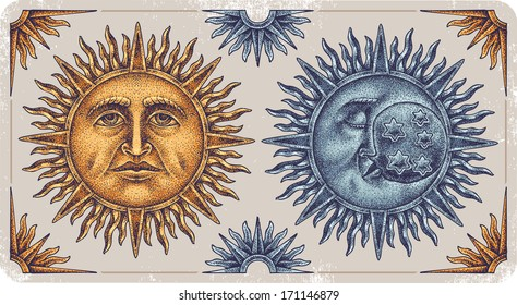 Hand-drawn sun and moon.