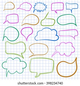 Hand-drawn text bulbs on notebook paper. VECTOR. Set of coloured frames.