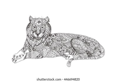 Adult Colouring Tiger Hd Stock Images Shutterstock