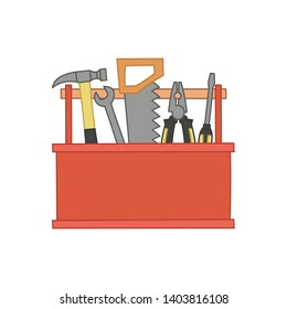 Hand-drawn toolbox on isolated white background. Vector illustration