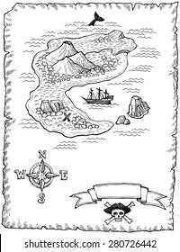 Hand-drawn Treasure Map Illustration