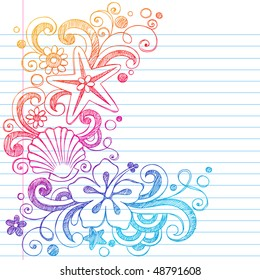 Hand-Drawn Tropical Hibiscus Flowers, Shells, and Starfish Summer Beach Sketchy Notebook Doodles Vector Illustration on Lined Sketchbook Paper Background