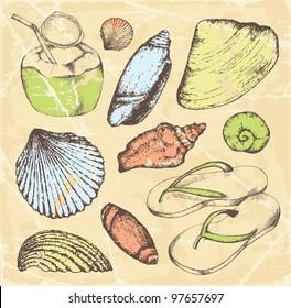 Hand-drawn Tropical travel set