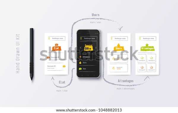 Handdrawn Ux Ui Kit Mobile App Stock Vector Royalty Free 1048882013