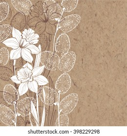 Hand-drawn vector background with spring flowers daffodils and branches of willow on kraft paper.