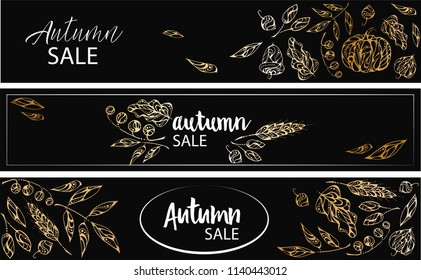 Hand-drawn vector banners. Autumn elements - berries and leaves- in gold color
