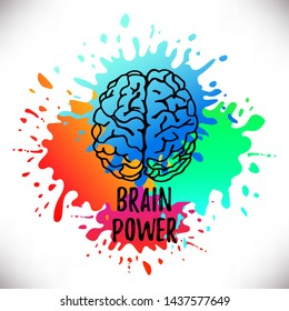Handdrawn Vector Brain.Logo silhouette isolated on colorful watercolor splashes of paint.Design template for business cards,apps and websites.Illustration isolated on white background