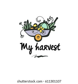 Hand-drawn vector cart  with flower, vegetable and fruit. Concept template logo with image of autumn harvest isolated on white background.