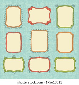 Hand-Drawn vector doodle frames. Color set border
