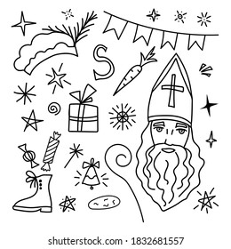 Hand-drawn vector doodle set in black outline. Saint Nicholas Day, Sinterklaas. Traditional holiday. Elements for Christmas, New Year's design, shoe, carrot, hat, flags, star.