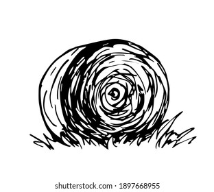 Hand-drawn vector drawing in engraving style. Round haystack, straw, dry grass. Farm, ranch.