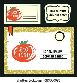 Hand-drawn vector element design poster, banner, corporate identity, logo for vegan healthy food. Concept template logo with image tomato and green leaf for home local farm, market, shop, store.
