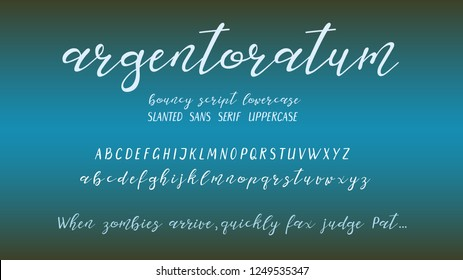 Hand-drawn vector font elements. Bouncy script lowercase and slanted sans serif uppercase letters,
