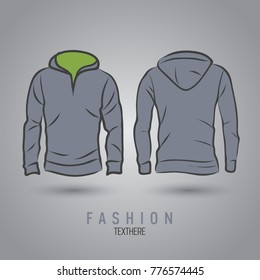 Hand-drawn vector hoody template mock up and showcase for designer, front and back view