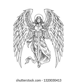 Handdrawn Vector Illustration Angel Holding Sword
