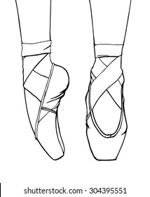 Hand-drawn vector illustration of ballerina's feet in dancing ballet shoes. Outline, isolated on white.