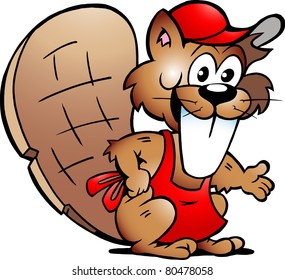 Hand-drawn Vector illustration of an Beaver Serving Guests