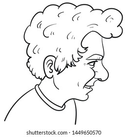Hand-drawn vector illustration of a boy from the side with curly hair and big nose. Face, portrait, page, scribble, outline, comic, ink, sketch, doodle, vector, illustration, line, cartoon, black