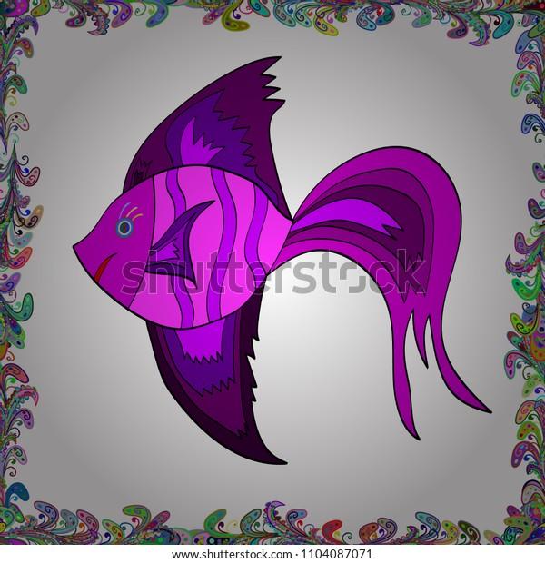 Handdrawn. Vector illustration. Cute fish. Kids background. Fishes on white, magenta and purple. Seamless.